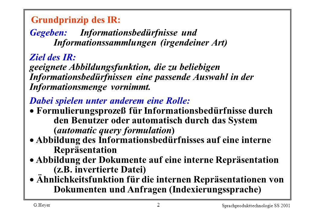 Grundprinzip des IR: Gegeben: Informationsbedürfnisse und Informationssammlungen (irgendeiner Art)