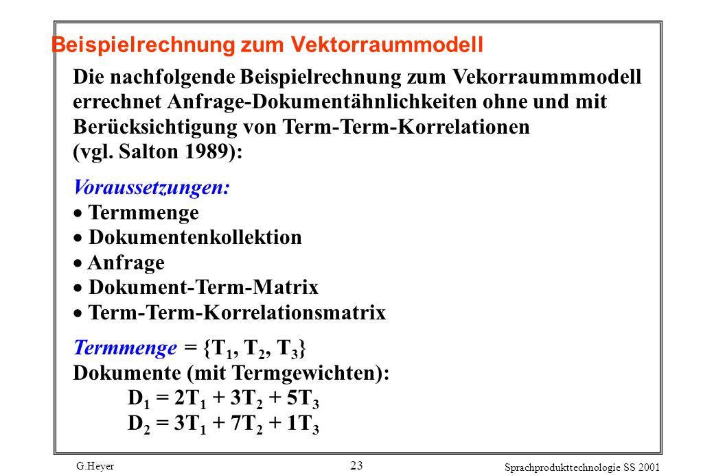 Beispielrechnung zum Vektorraummodell