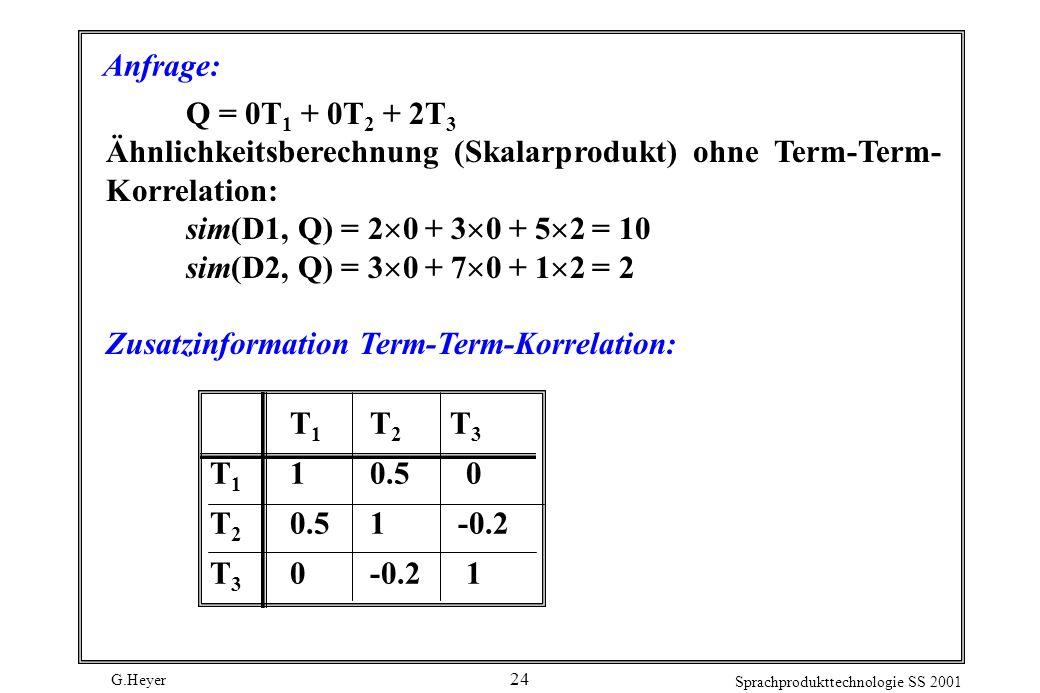Anfrage: Q = 0T1 + 0T2 + 2T3. Ähnlichkeitsberechnung (Skalarprodukt) ohne Term-Term-Korrelation: sim(D1, Q) = 20 + 30 + 52 = 10.