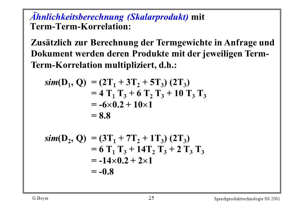 Ähnlichkeitsberechnung (Skalarprodukt) mit Term-Term-Korrelation: