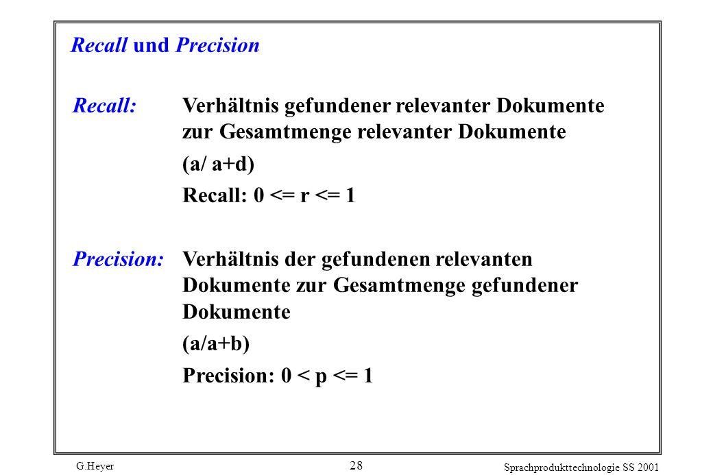 Recall und Precision Recall: Verhältnis gefundener relevanter Dokumente zur Gesamtmenge relevanter Dokumente.