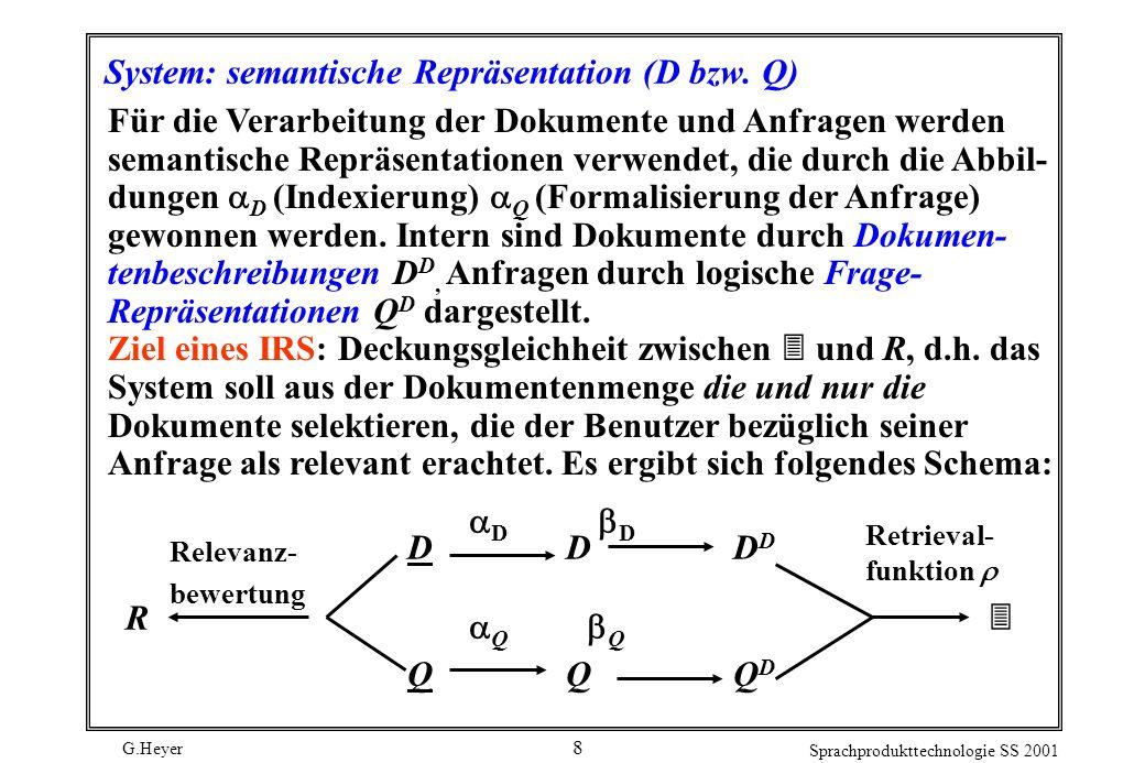System: semantische Repräsentation (D bzw. Q)