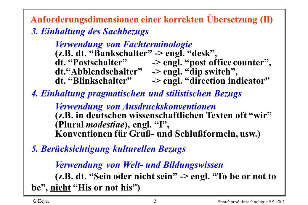 Anforderungsdimensionen einer korrekten Übersetzung (II)