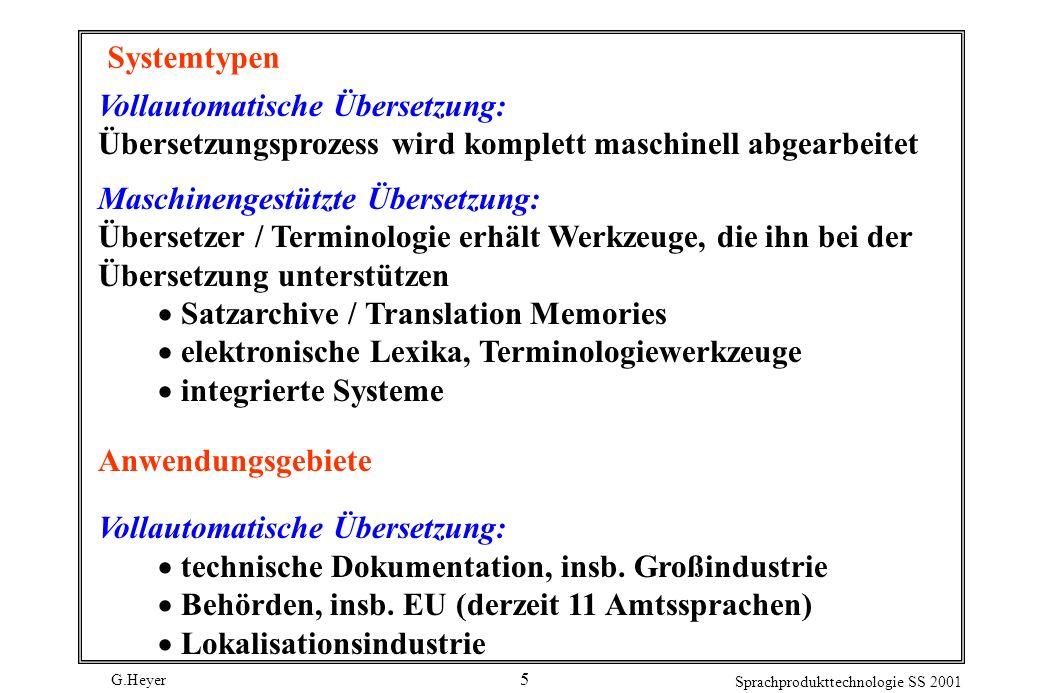 Systemtypen Vollautomatische Übersetzung: Übersetzungsprozess wird komplett maschinell abgearbeitet.