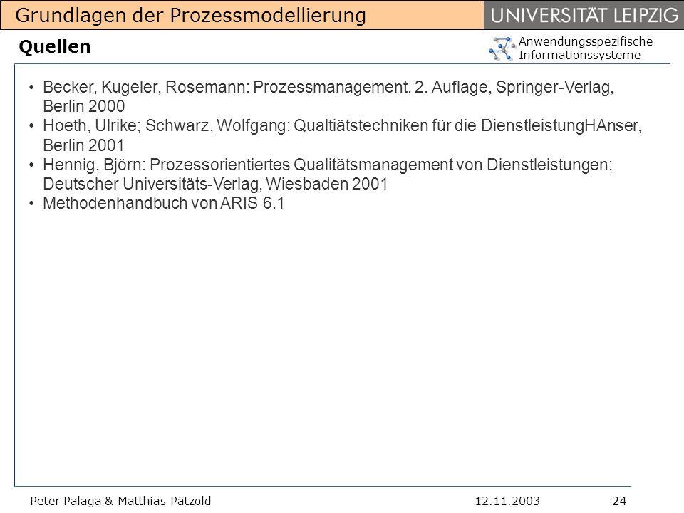 Quellen Becker, Kugeler, Rosemann: Prozessmanagement. 2. Auflage, Springer-Verlag, Berlin 2000.