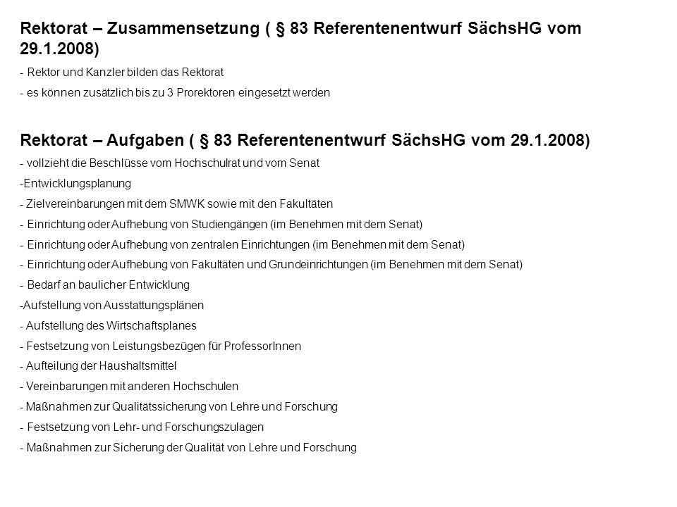 Rektorat – Aufgaben ( § 83 Referentenentwurf SächsHG vom 29.1.2008)