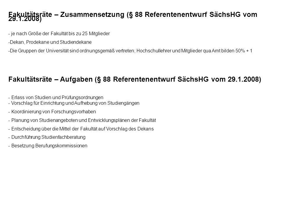 Fakultätsräte – Zusammensetzung (§ 88 Referentenentwurf SächsHG vom 29