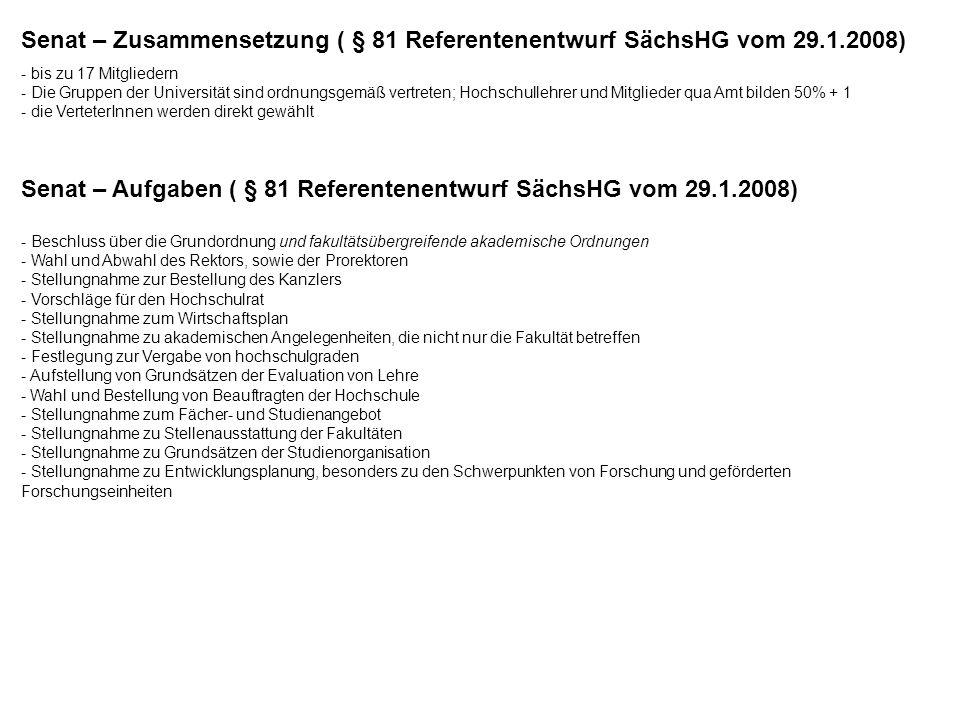 Senat – Aufgaben ( § 81 Referentenentwurf SächsHG vom 29.1.2008)