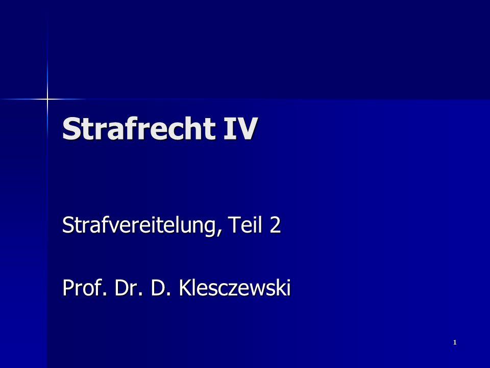 Strafvereitelung, Teil 2 Prof. Dr. D. Klesczewski
