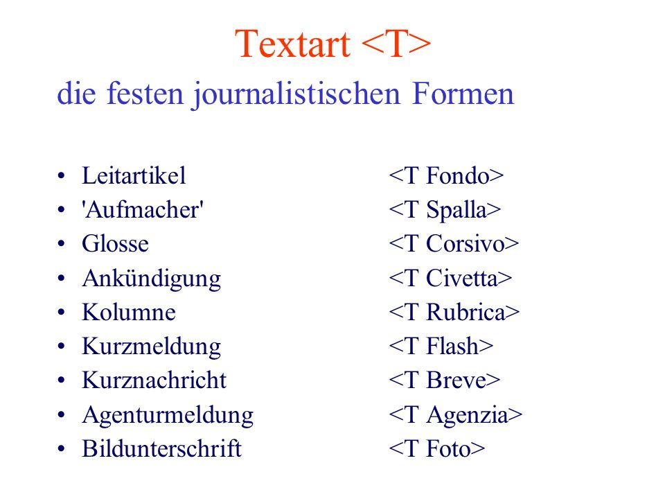 Textart <T> die festen journalistischen Formen
