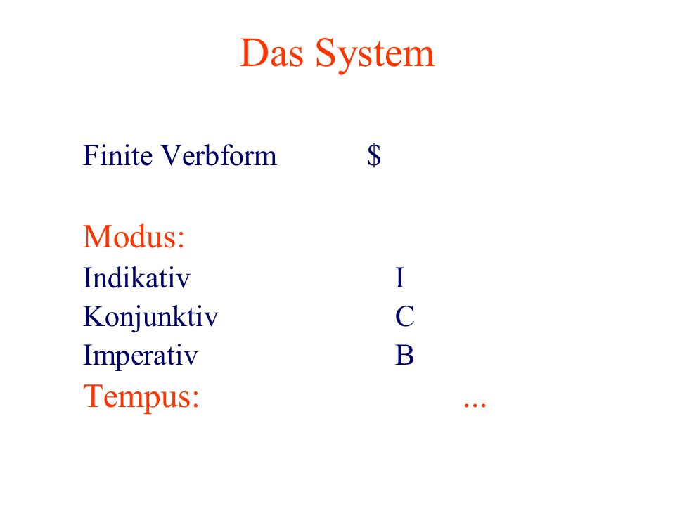Das System Finite Verbform $ Tempus: ... Modus: Indikativ I