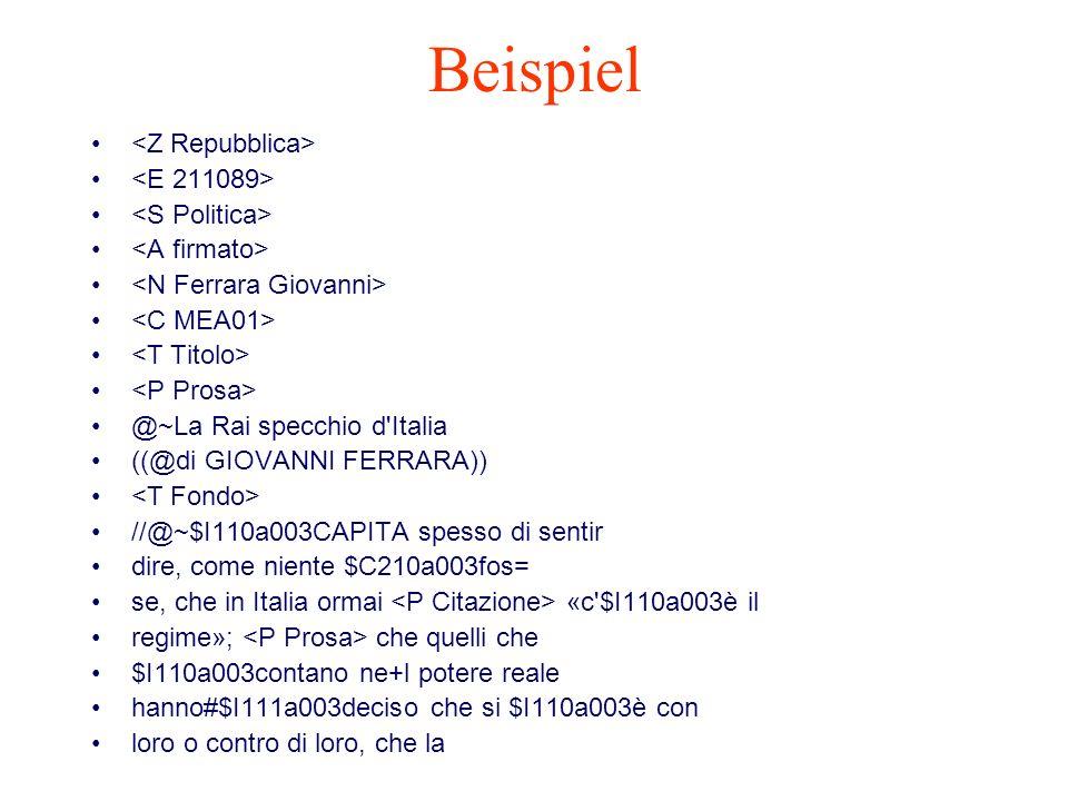 Beispiel <Z Repubblica> <E 211089> <S Politica>