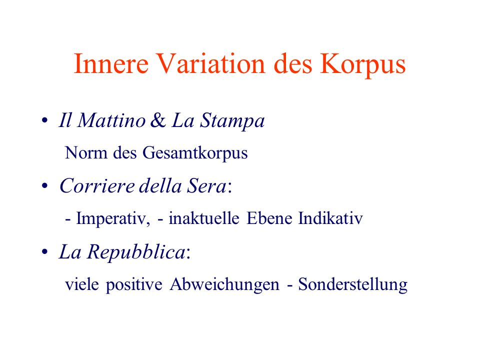 Innere Variation des Korpus