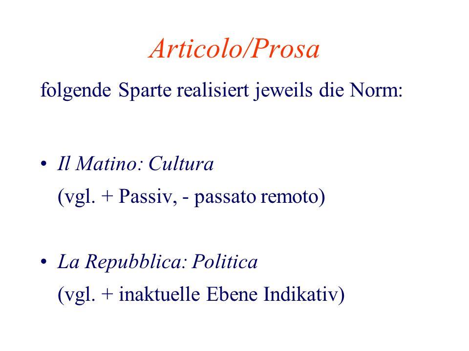 Articolo/Prosa folgende Sparte realisiert jeweils die Norm: