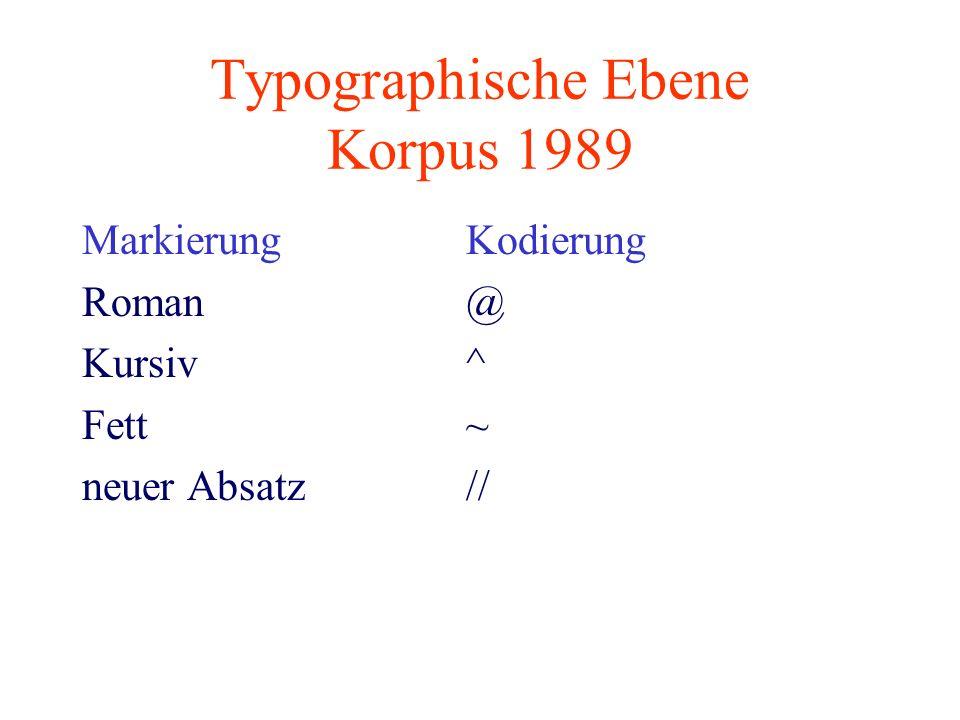 Typographische Ebene Korpus 1989
