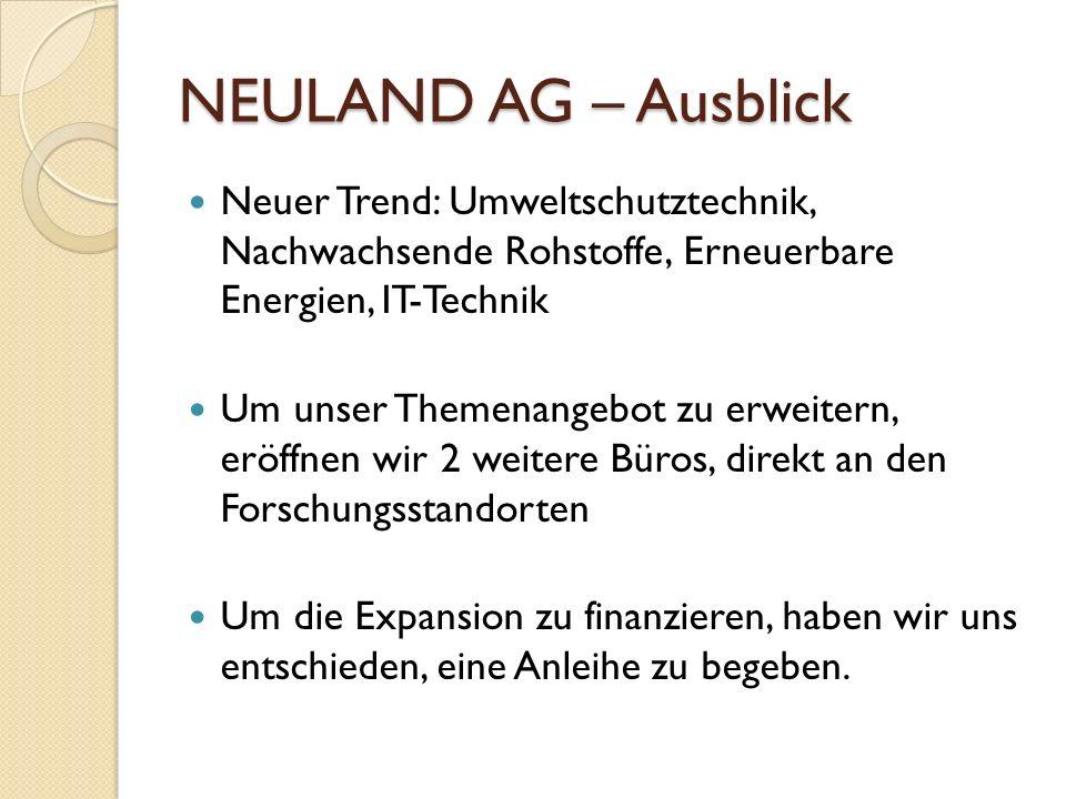 NEULAND AG – Ausblick Neuer Trend: Umweltschutztechnik, Nachwachsende Rohstoffe, Erneuerbare Energien, IT-Technik.