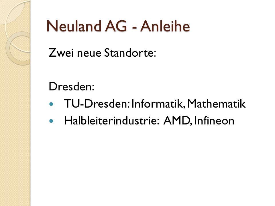 Neuland AG - Anleihe Zwei neue Standorte: Dresden: