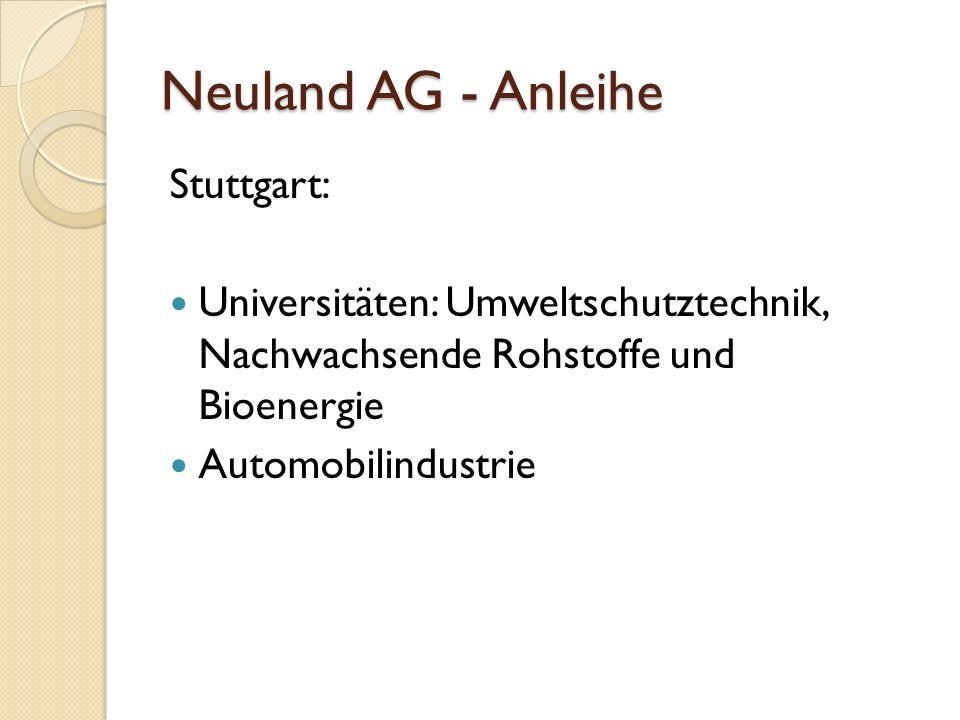 Neuland AG - Anleihe Stuttgart: