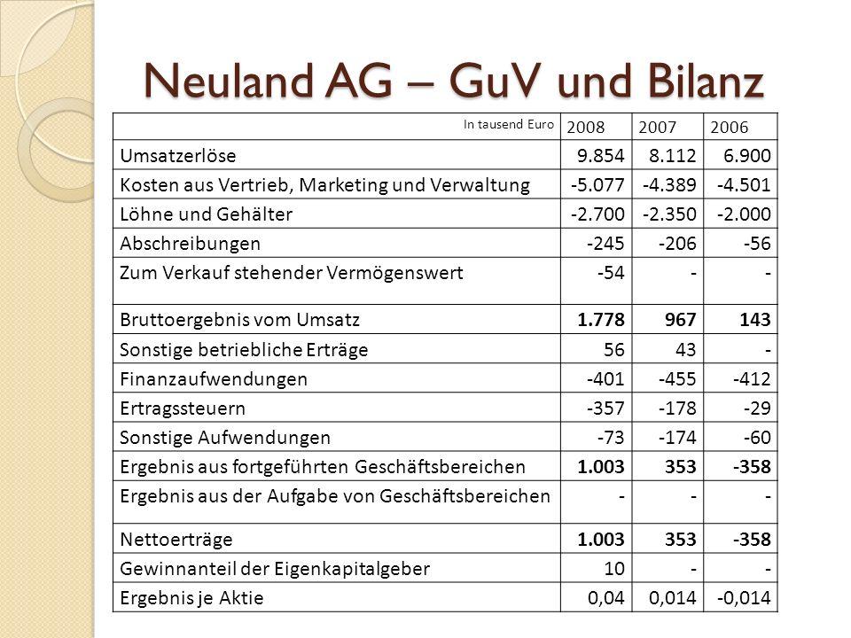 Neuland AG – GuV und Bilanz