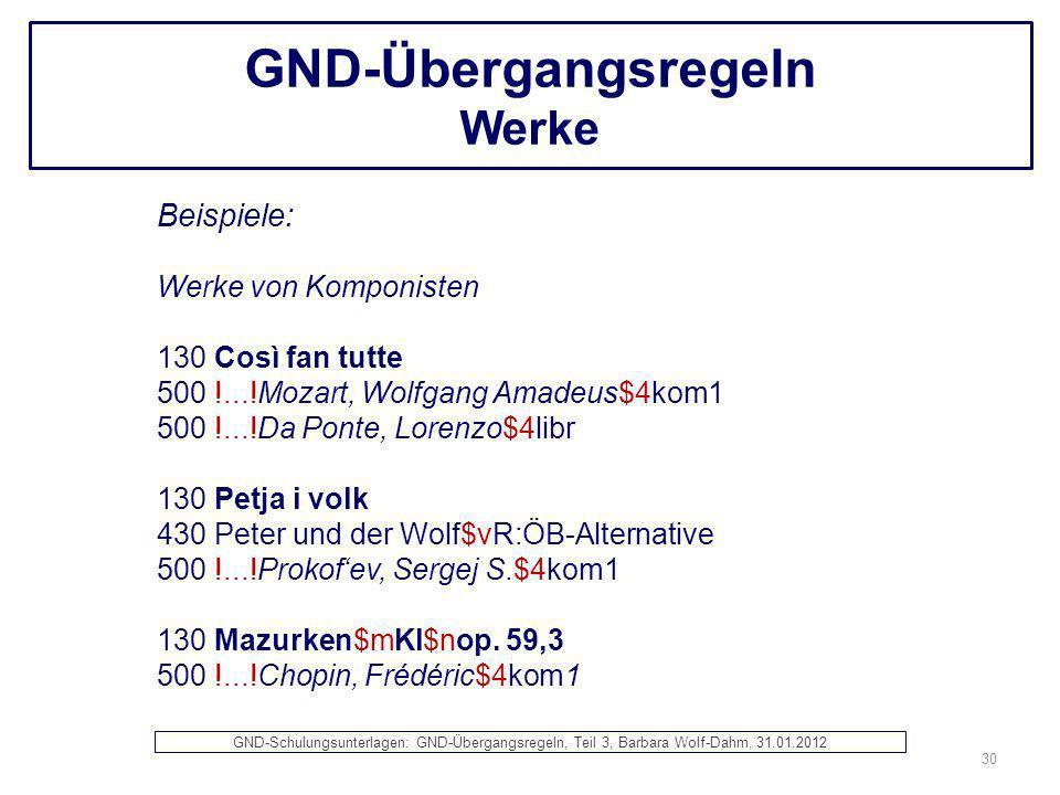 GND-Übergangsregeln Werke
