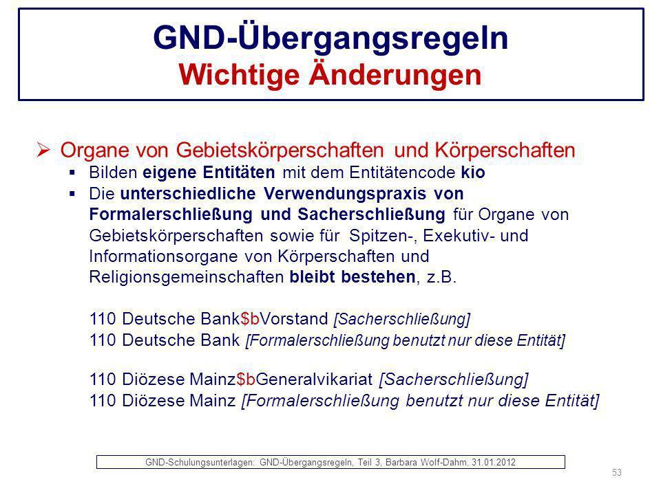 GND-Übergangsregeln Wichtige Änderungen