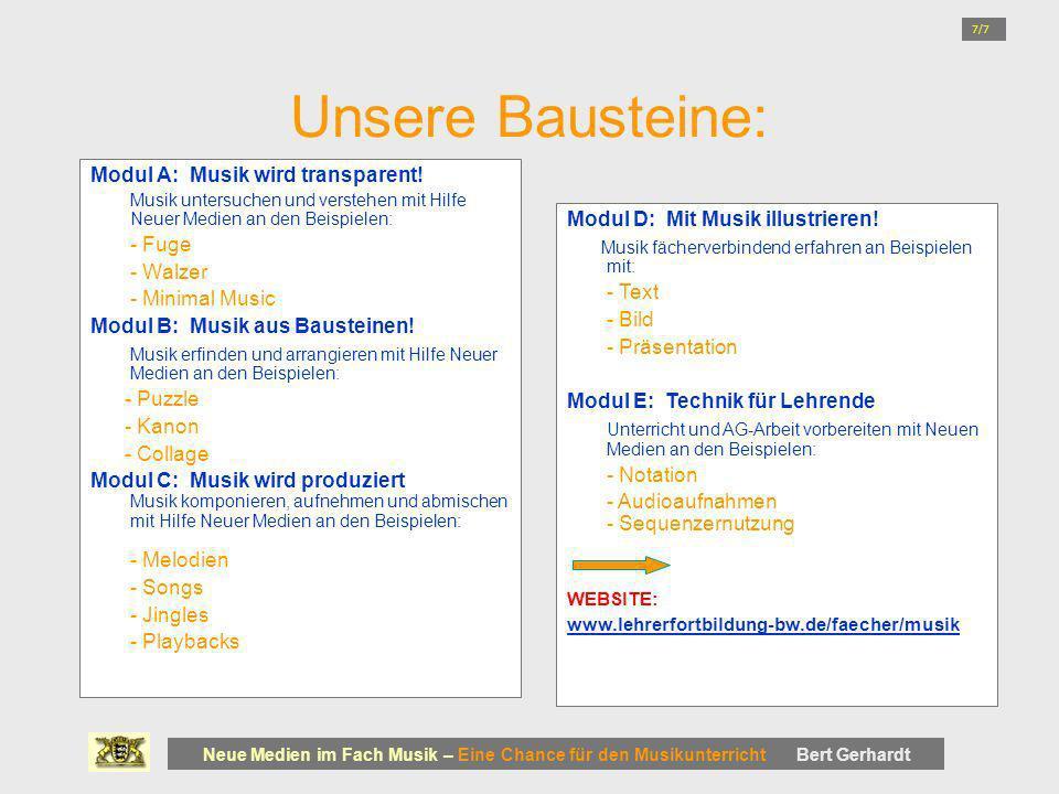 Unsere Bausteine: Modul A: Musik wird transparent! - Fuge - Walzer