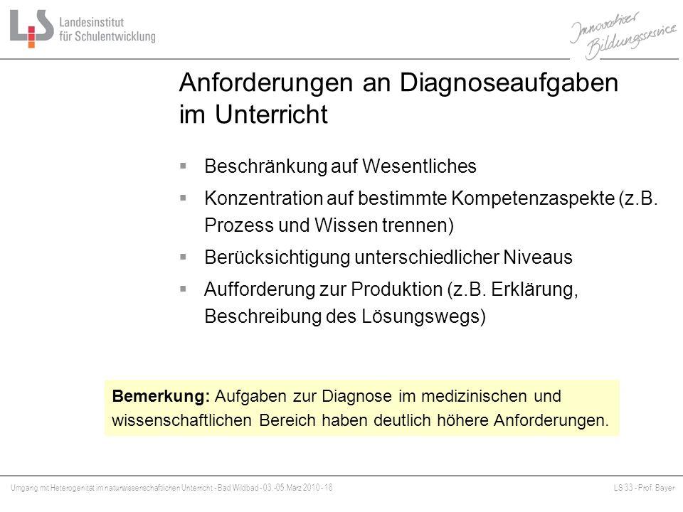 Anforderungen an Diagnoseaufgaben im Unterricht