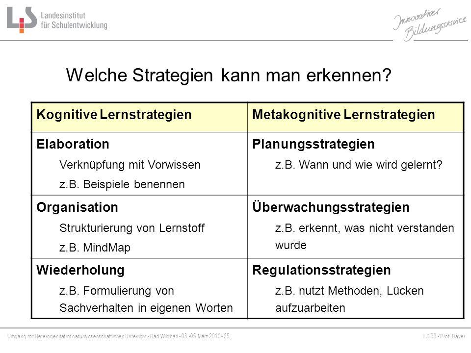 Welche Strategien kann man erkennen