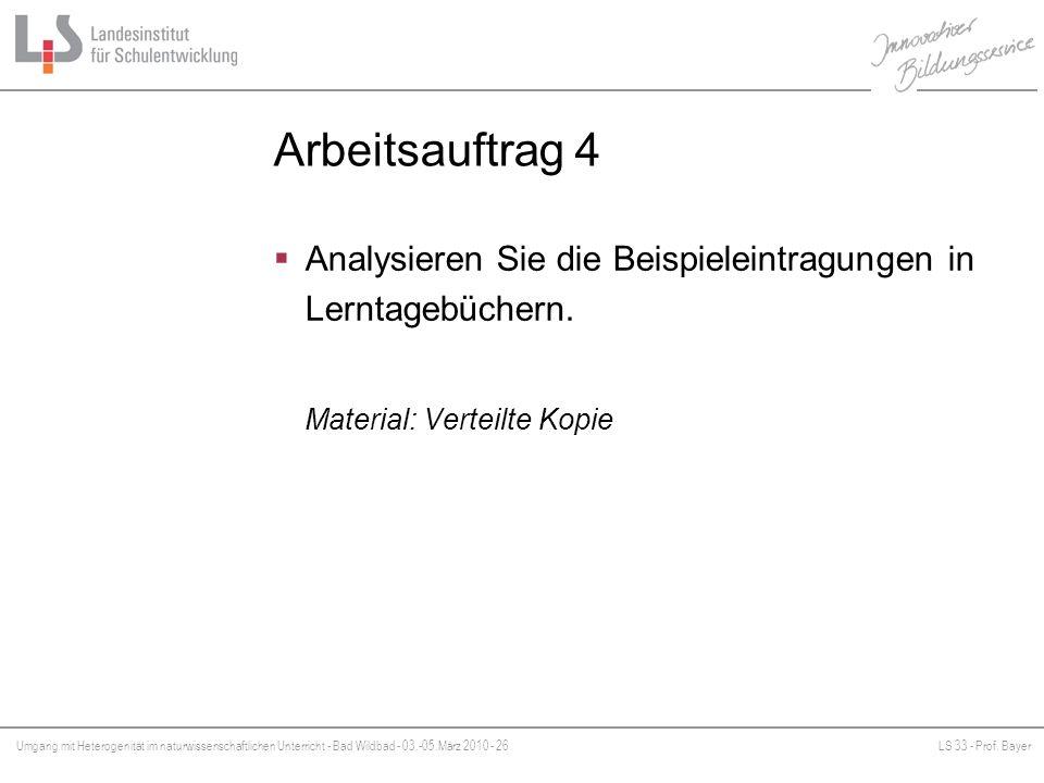 Arbeitsauftrag 4 Analysieren Sie die Beispieleintragungen in Lerntagebüchern.