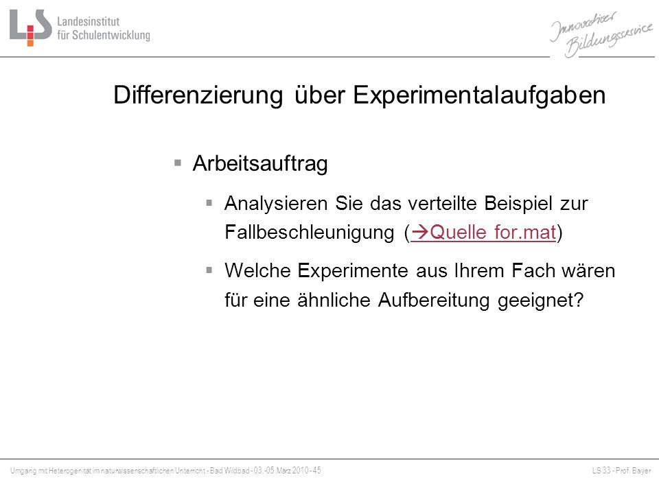 Differenzierung über Experimentalaufgaben