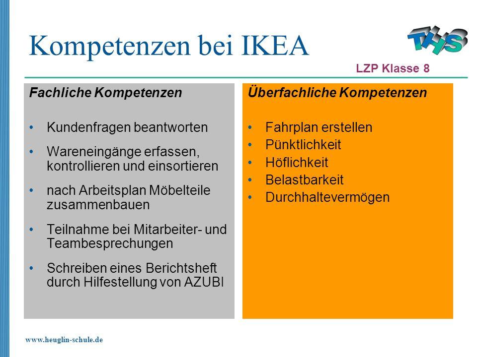 Kompetenzen bei IKEA Fachliche Kompetenzen Kundenfragen beantworten