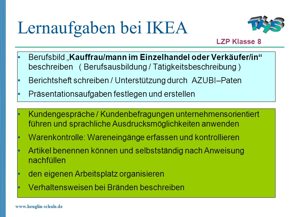 Lernaufgaben bei IKEA LZP Klasse 8.