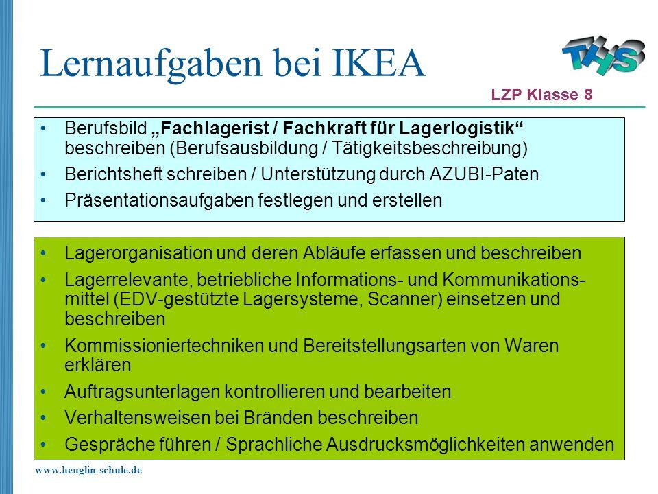 """Lernaufgaben bei IKEA LZP Klasse 8. Berufsbild """"Fachlagerist / Fachkraft für Lagerlogistik beschreiben (Berufsausbildung / Tätigkeitsbeschreibung)"""