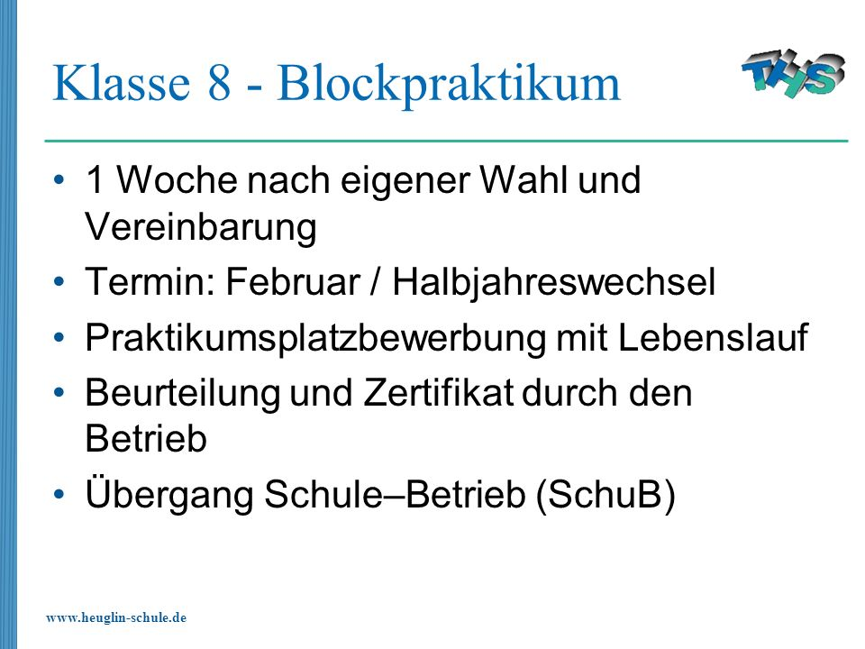 Klasse 8 - Blockpraktikum