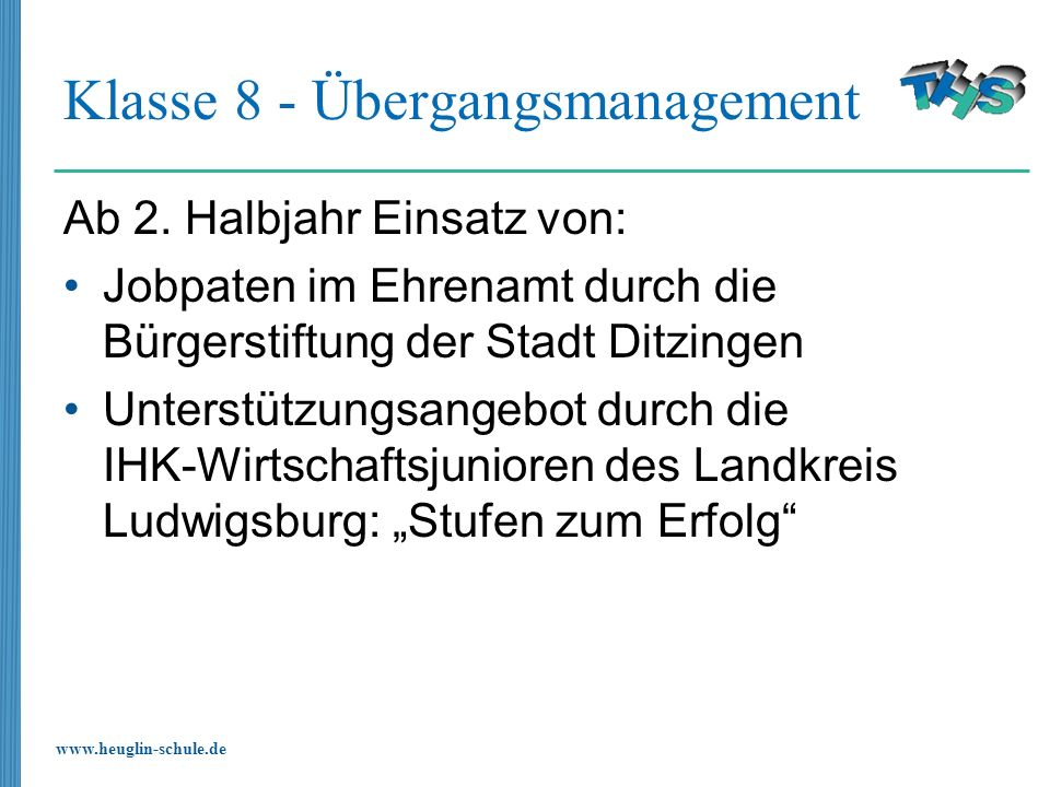 Klasse 8 - Übergangsmanagement