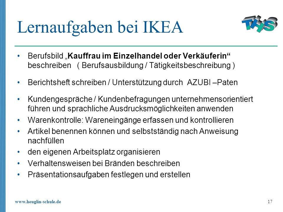 """Lernaufgaben bei IKEABerufsbild """"Kauffrau im Einzelhandel oder Verkäuferin beschreiben ( Berufsausbildung / Tätigkeitsbeschreibung )"""