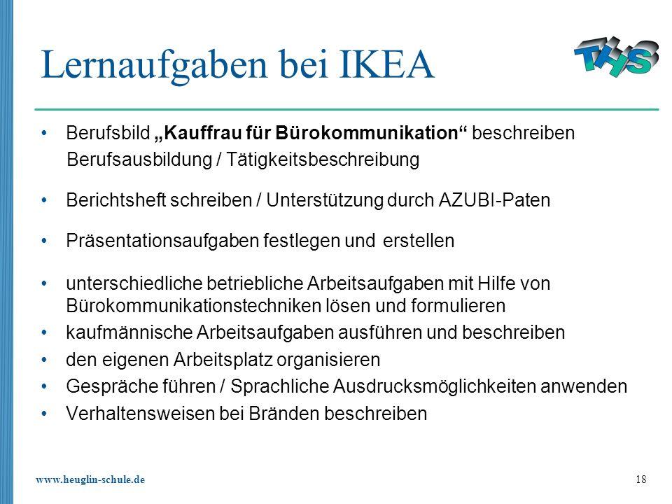 """Lernaufgaben bei IKEABerufsbild """"Kauffrau für Bürokommunikation beschreiben. Berufsausbildung / Tätigkeitsbeschreibung."""