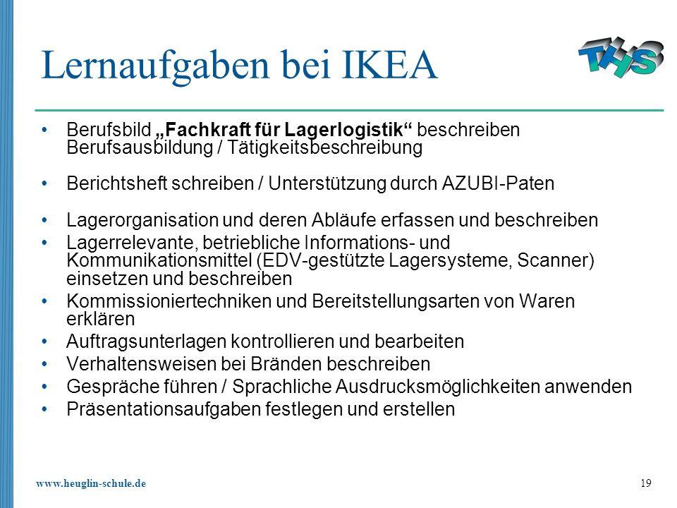 """Lernaufgaben bei IKEA Berufsbild """"Fachkraft für Lagerlogistik beschreiben Berufsausbildung / Tätigkeitsbeschreibung."""
