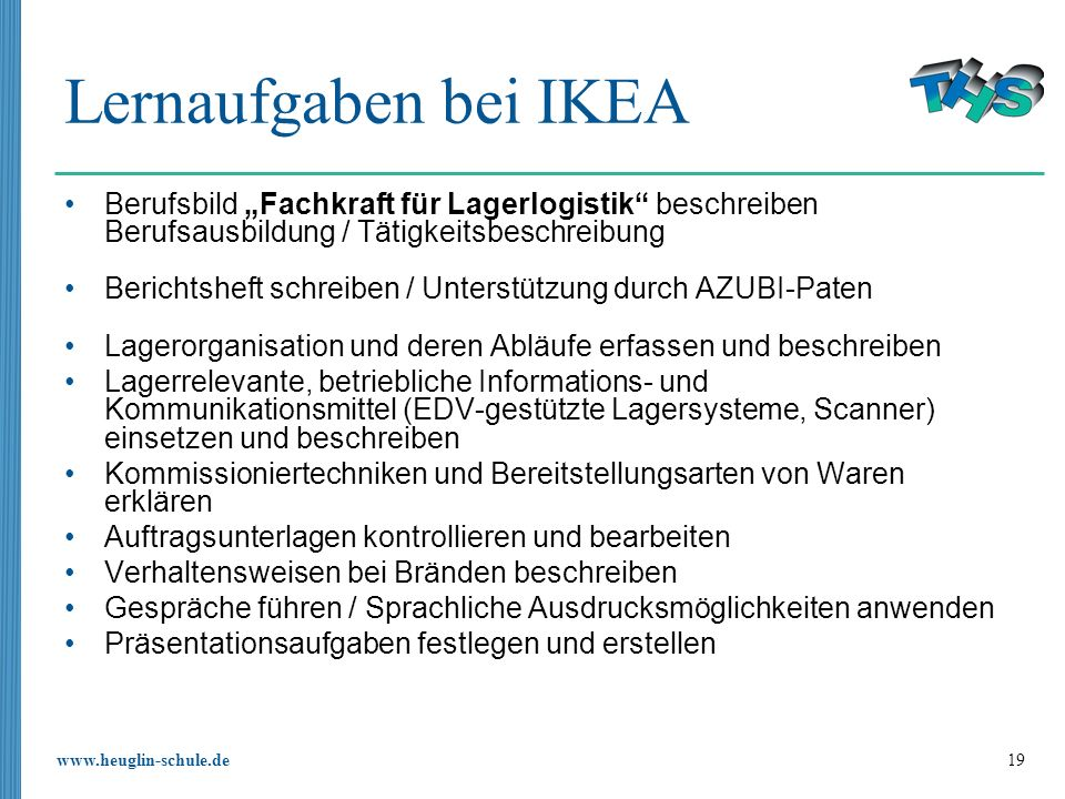 """Lernaufgaben bei IKEABerufsbild """"Fachkraft für Lagerlogistik beschreiben Berufsausbildung / Tätigkeitsbeschreibung."""