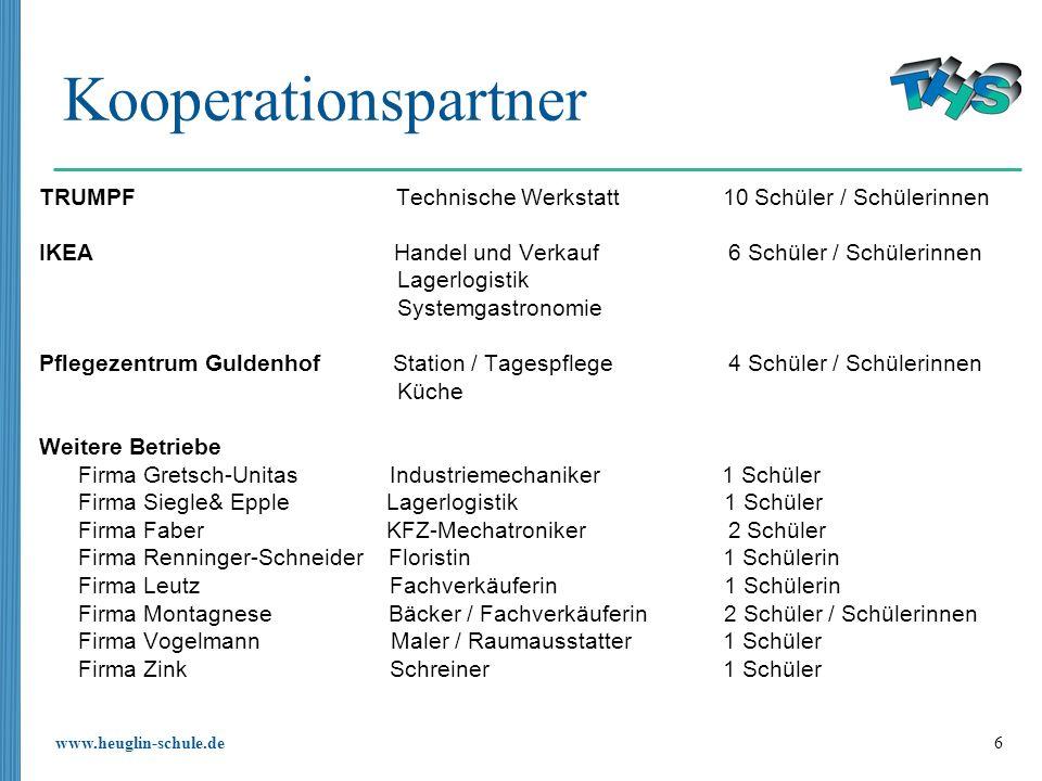 KooperationspartnerTRUMPF Technische Werkstatt 10 Schüler / Schülerinnen.