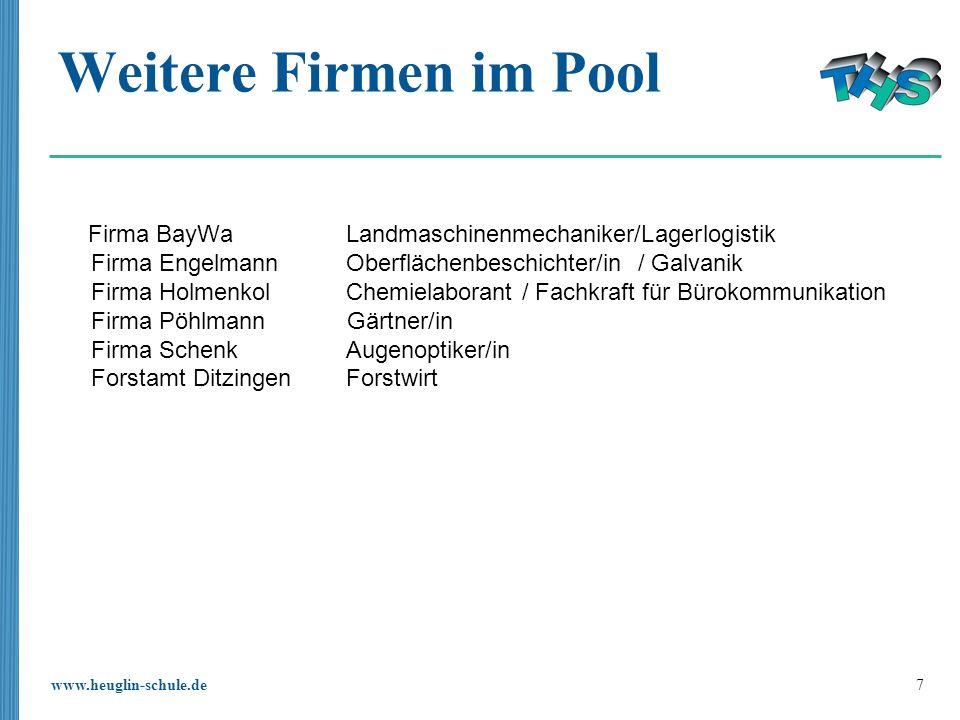 Weitere Firmen im Pool Firma BayWa Landmaschinenmechaniker/Lagerlogistik. Firma Engelmann Oberflächenbeschichter/in / Galvanik.