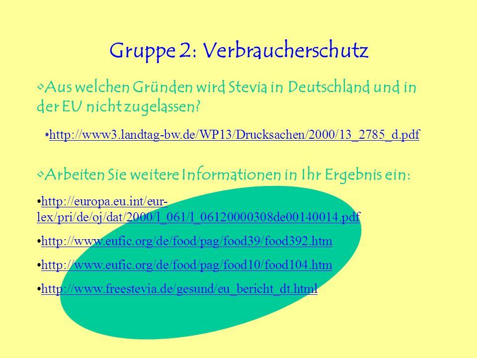 Gruppe 2: Verbraucherschutz