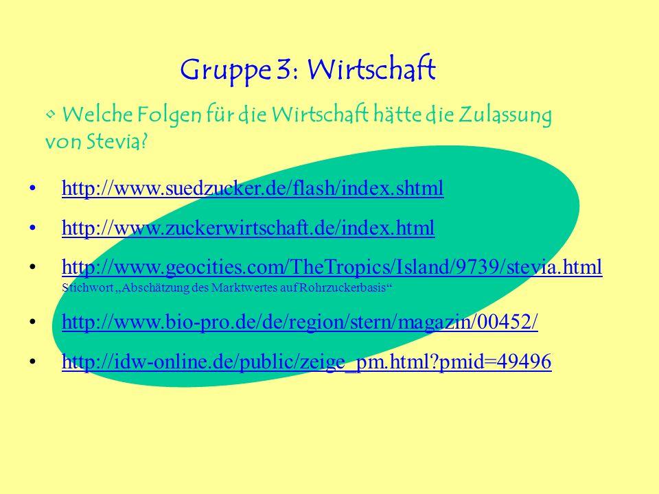 Gruppe 3: Wirtschaft Welche Folgen für die Wirtschaft hätte die Zulassung von Stevia http://www.suedzucker.de/flash/index.shtml.