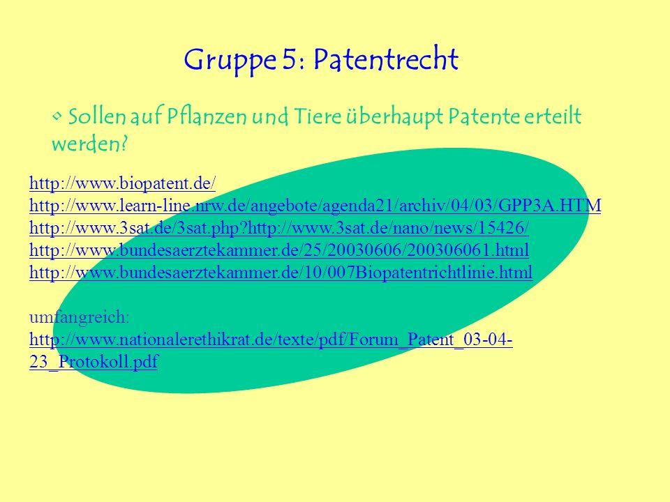 Gruppe 5: Patentrecht Sollen auf Pflanzen und Tiere überhaupt Patente erteilt werden http://www.biopatent.de/