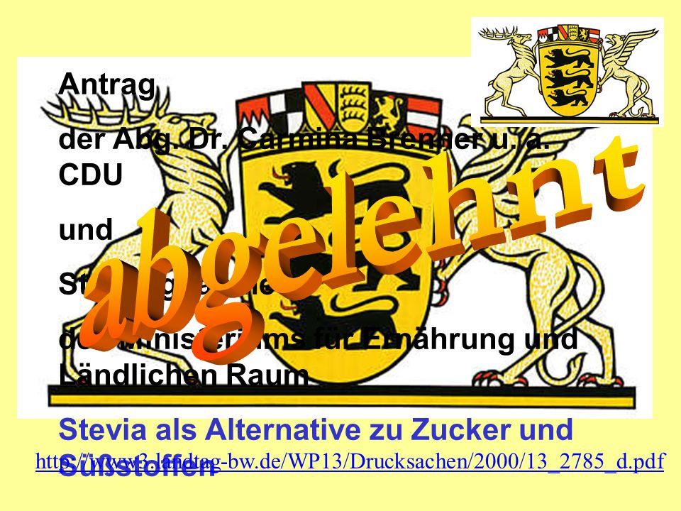 abgelehnt Antrag der Abg. Dr. Carmina Brenner u. a. CDU und