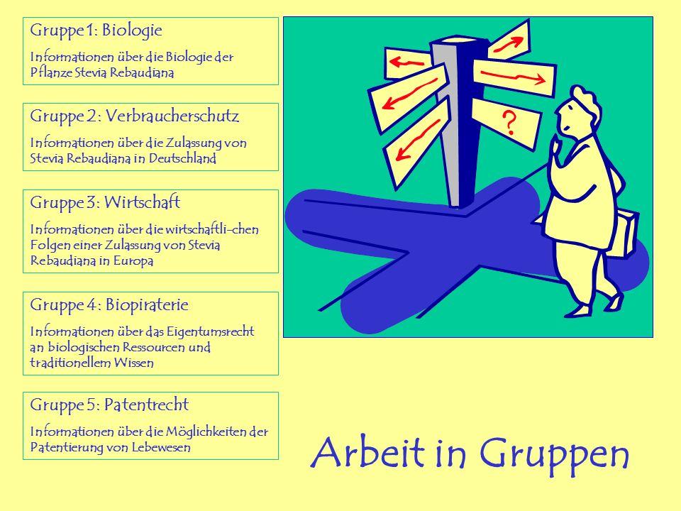 Arbeit in Gruppen Gruppe 1: Biologie Gruppe 2: Verbraucherschutz