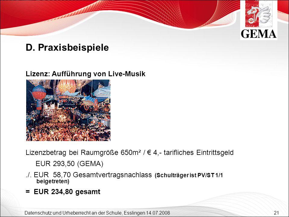 D. Praxisbeispiele Lizenz: Aufführung von Live-Musik