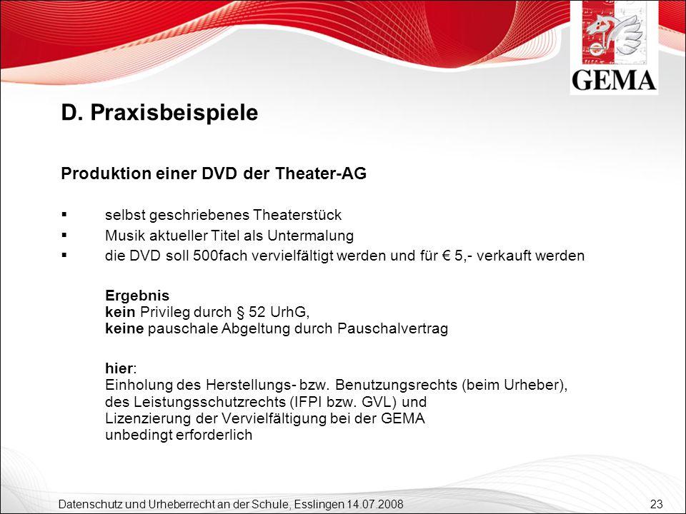 D. Praxisbeispiele Produktion einer DVD der Theater-AG