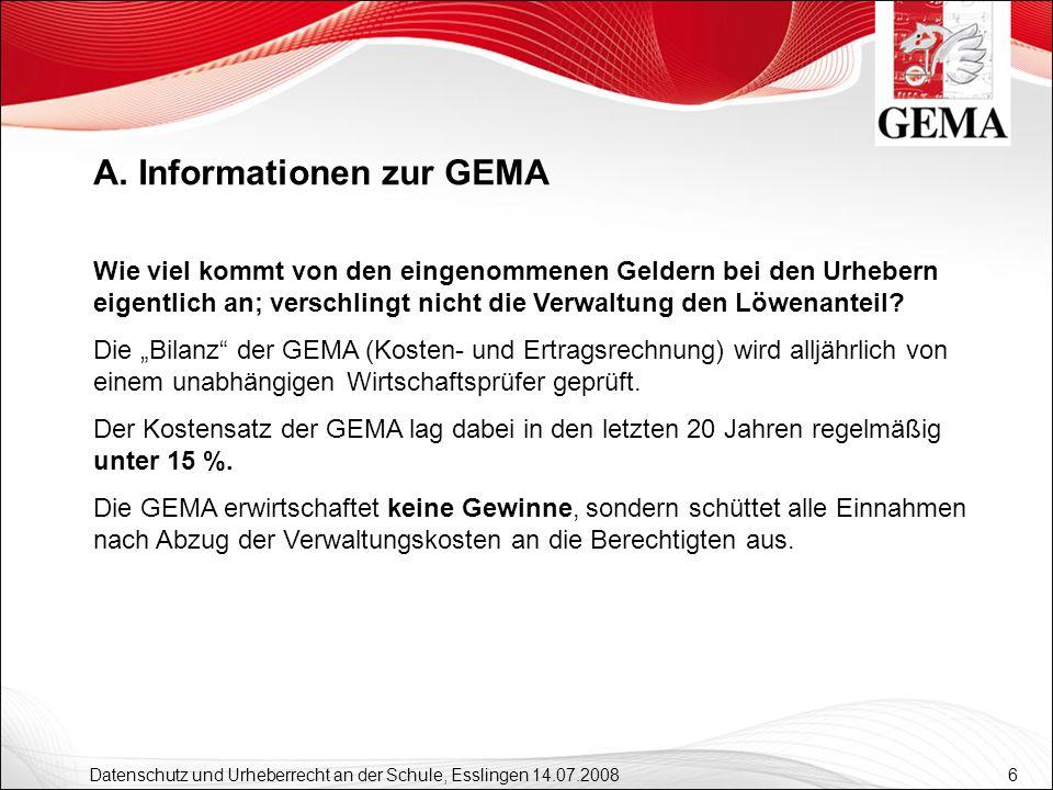 A. Informationen zur GEMA