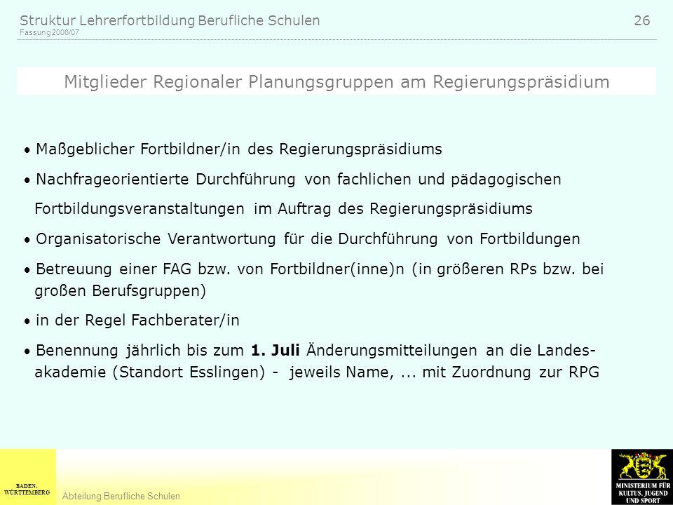 Mitglieder Regionaler Planungsgruppen am Regierungspräsidium